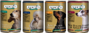 Addiction's canned line include exotic protein from New Zealand which are ideal for dogs with allergies.