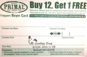 Primal Frequent Buyer card