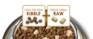Some kibble formulas include dehydrated raw bits or raw coating